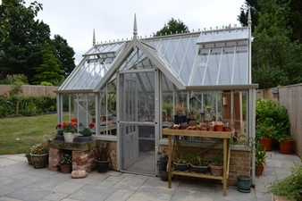 National Trust Mottisfont freestanding greenhouse in Wood Sage
