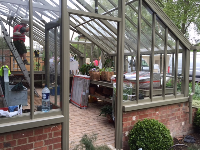 Large, bespoke, mono-pitch, lean-to greenhouse at RHS Chelsea