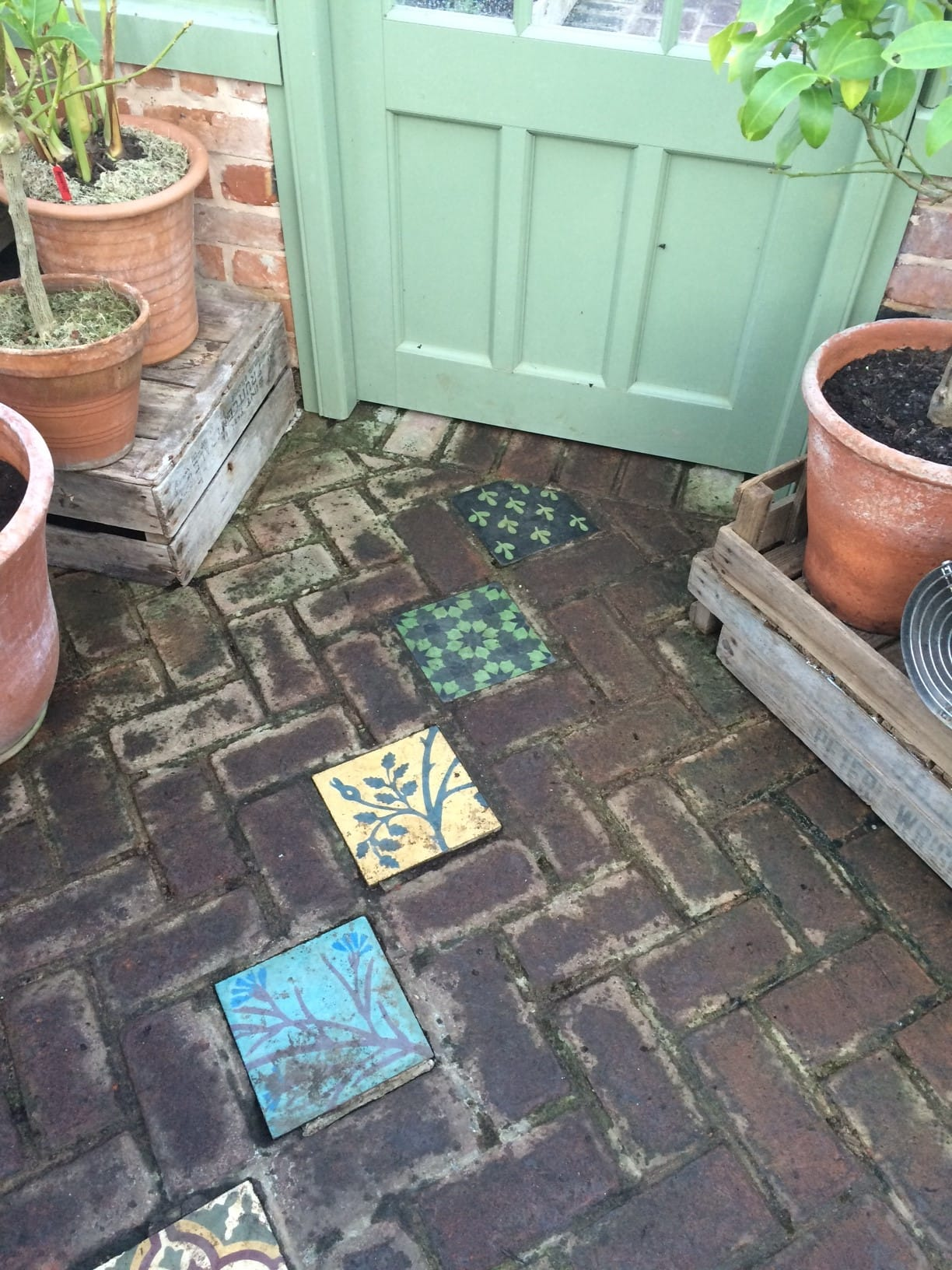 Tiles on the floor of the greenhouse