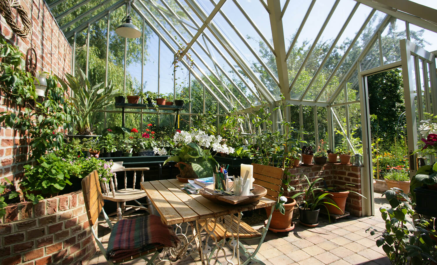 Relaxing in the greenhouse