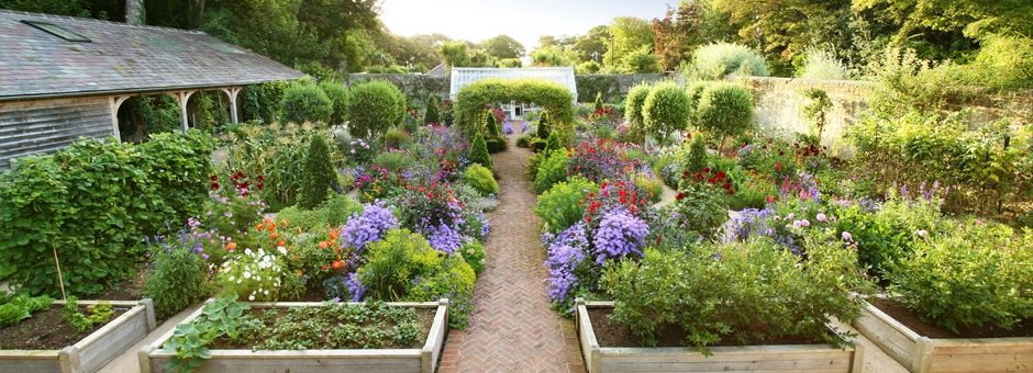 Stunning garden open to the public on the Isle of Wight with large lean to greenhouse