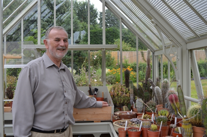 Our client and his cacti collection in his National Trust Mottisfont greenhouse