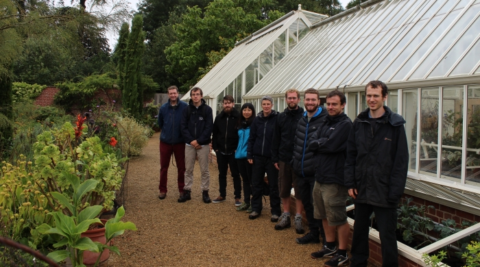 Kew Students outside Broughton Grange Greenhouse