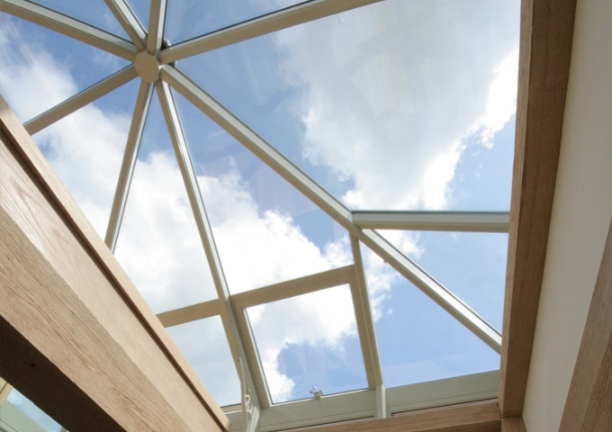 Glazed lantern roof light on top of observatory tower